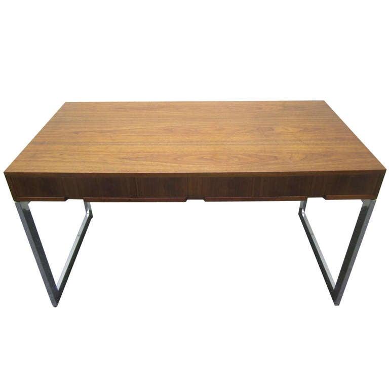 Fabulous Milo Baughman Style Walnut and Chrome Desk Mid-Century Modern
