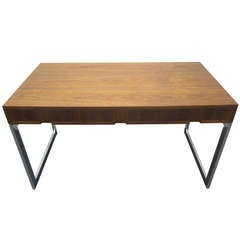 Fabulous Milo Baughman Style Walnut and Chrome Desk Mid-Century Modern