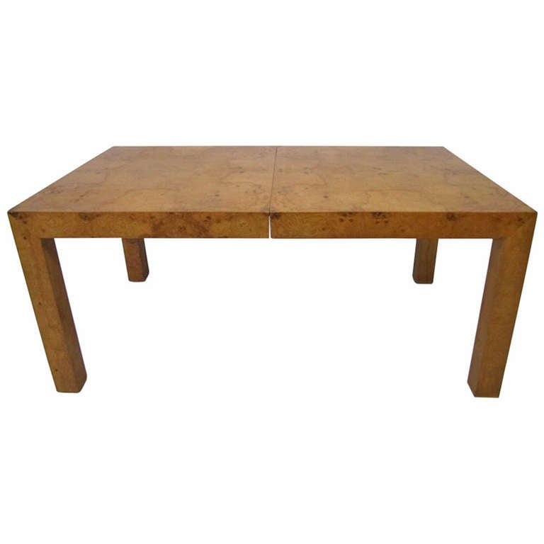 Lovely Milo Baughman Burl Olivewood Dining Table Mid-century Modern