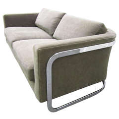 Excellent Milo Baughman Floating Chrome Settee Loveseat Mid-century Modern