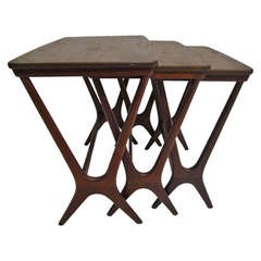 Set of Three Danish Modern Teak Nesting Tables Attributed to Johannes Andersen