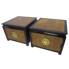Pair of Chinoiserie Asian-Inspired Baker End Side Tables or Night Stands
