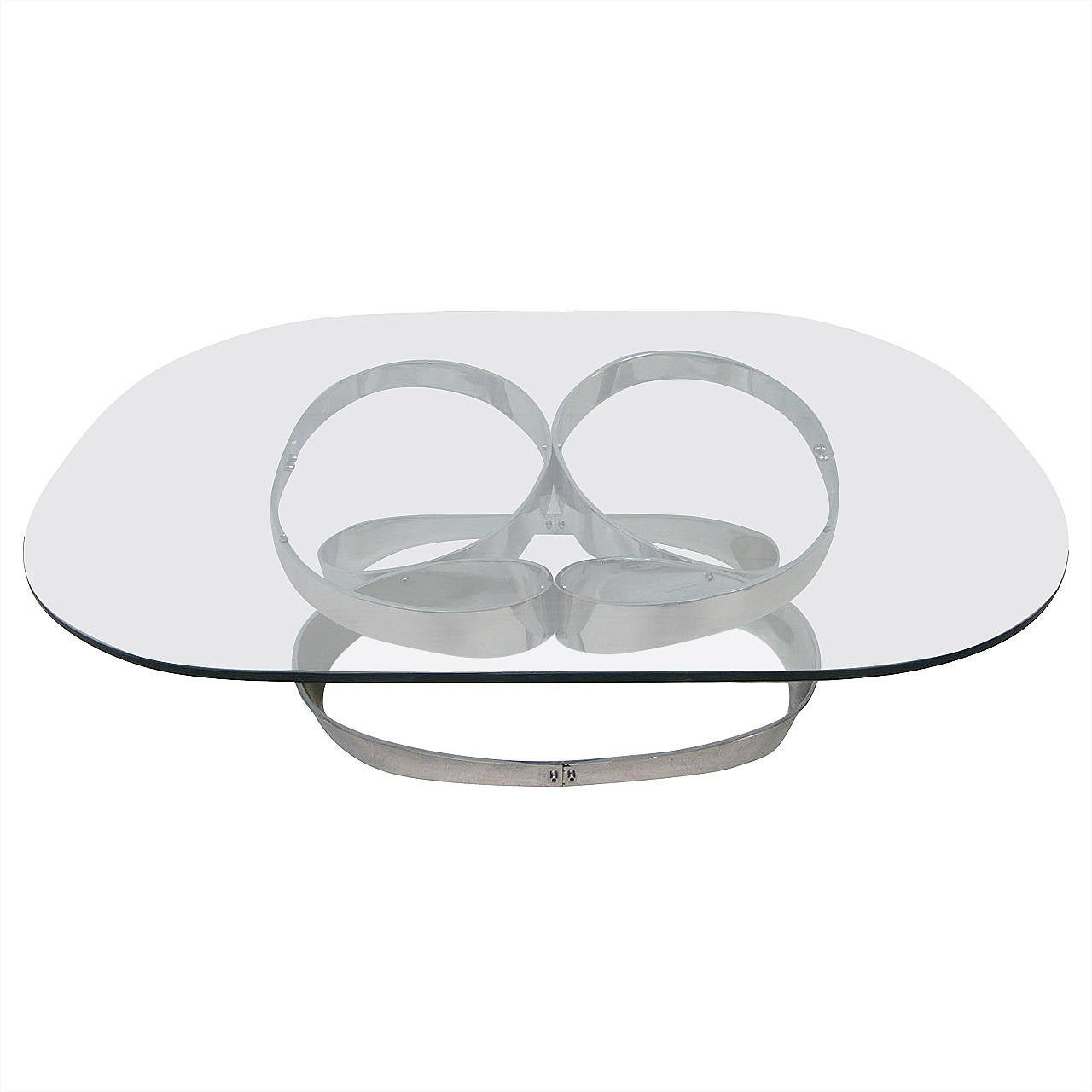 Large-Scale Chrome Ribbon Coffee Table, Mid-Century Modern