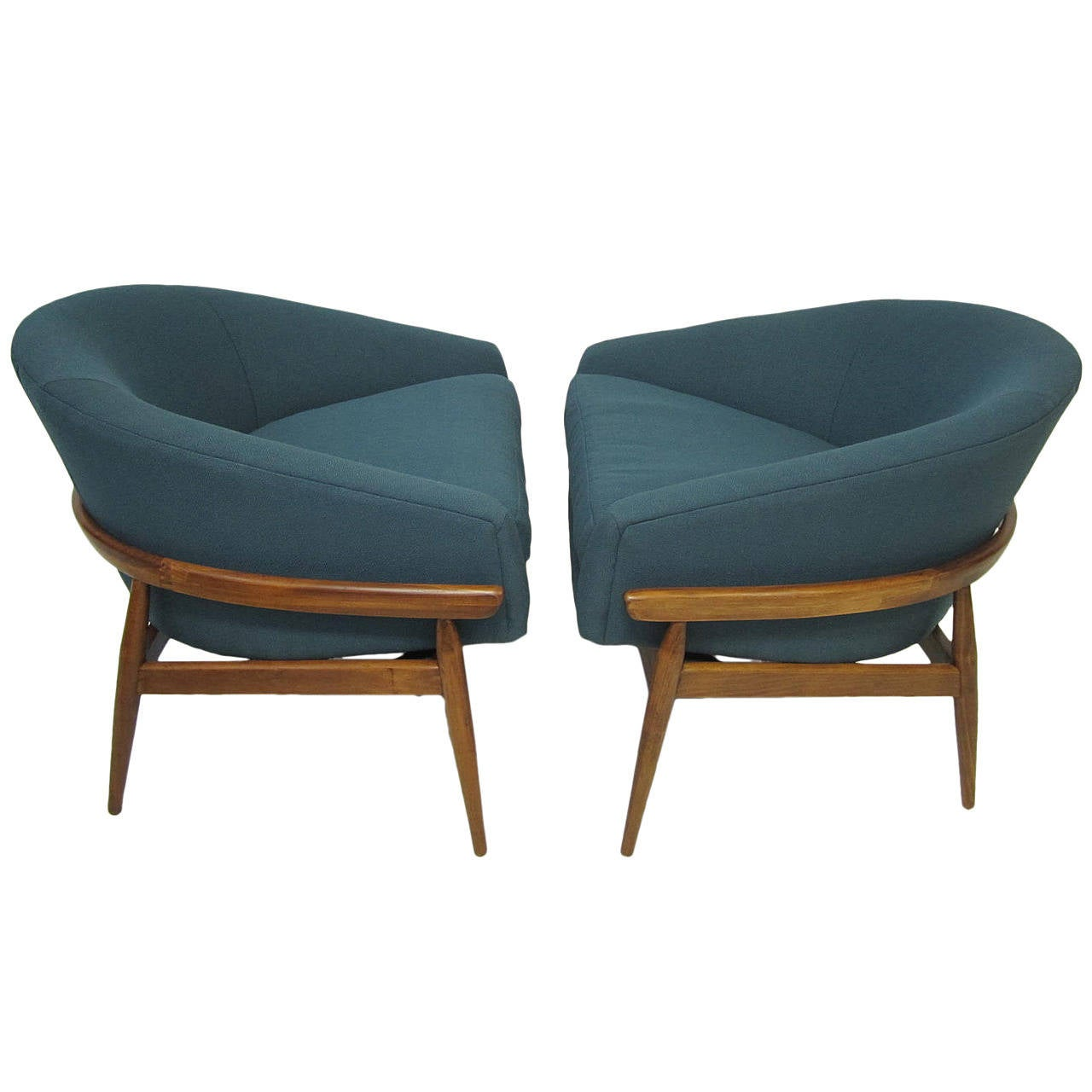 amazing pair of milo baughman wide barrel back lounge chairs mid