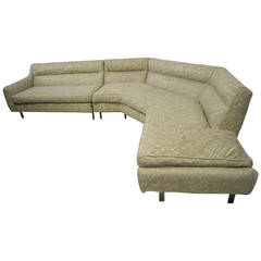 Stunning Harvey Probber Two-Piece Sectional Sofa with Solid Bronze Legs