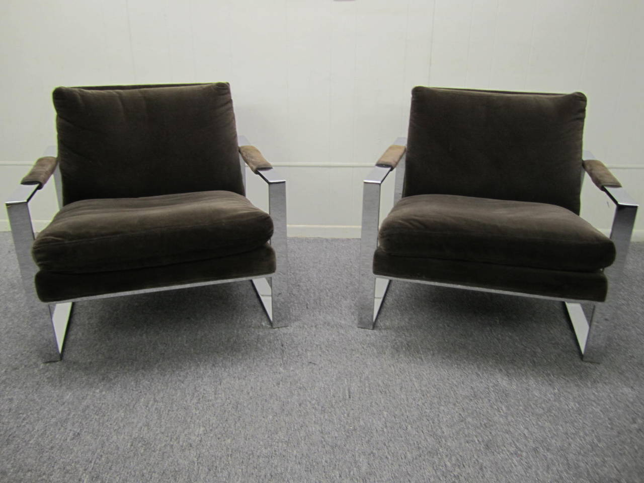 American Fabulous Pair Of Milo Baughman Chrome Cube Lounge Chairs,  Mid Century Modern For
