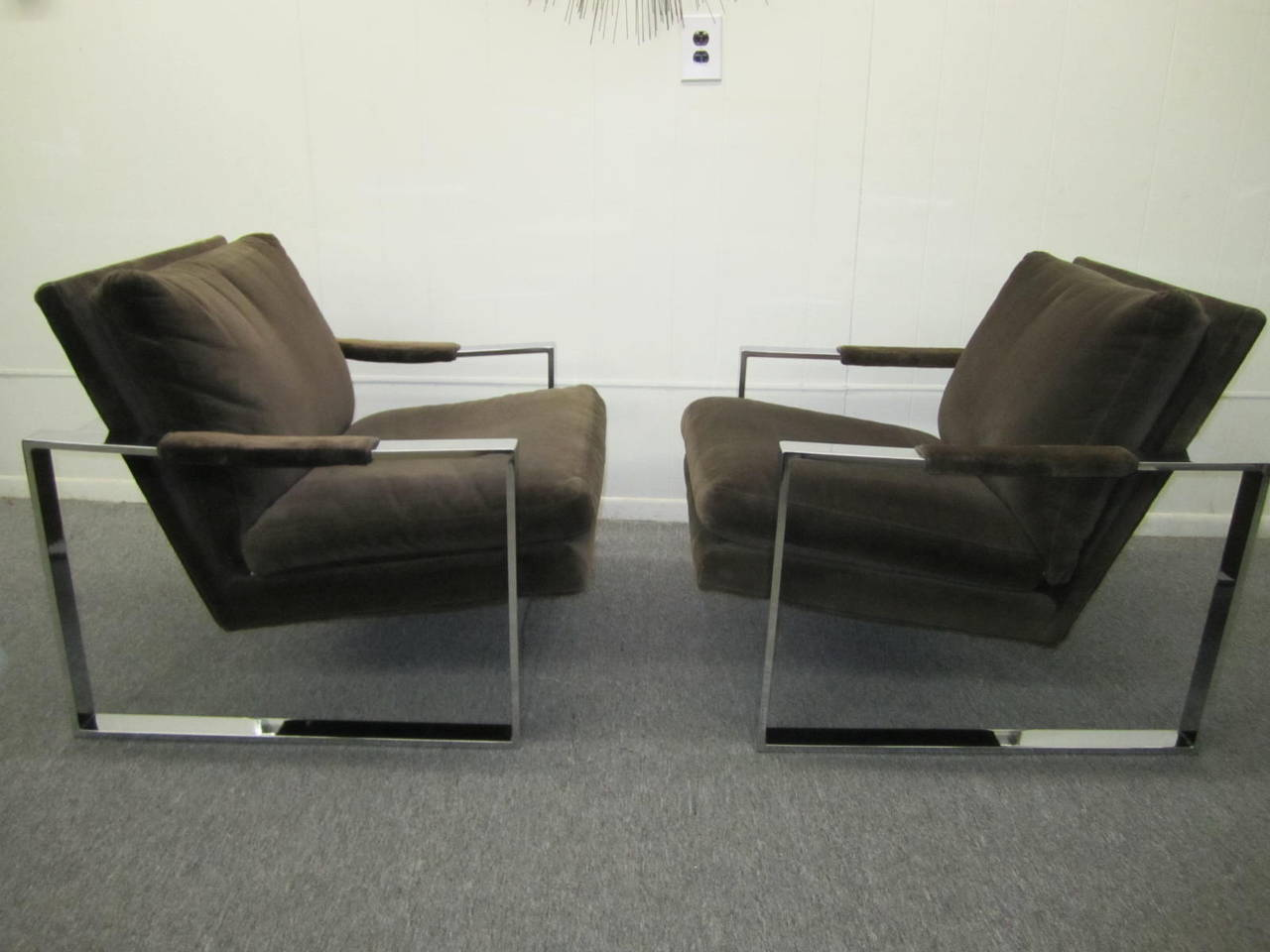 Fabulous Pair of Milo Baughman Chrome Cube Lounge Chairs, Mid-Century Modern For Sale 4