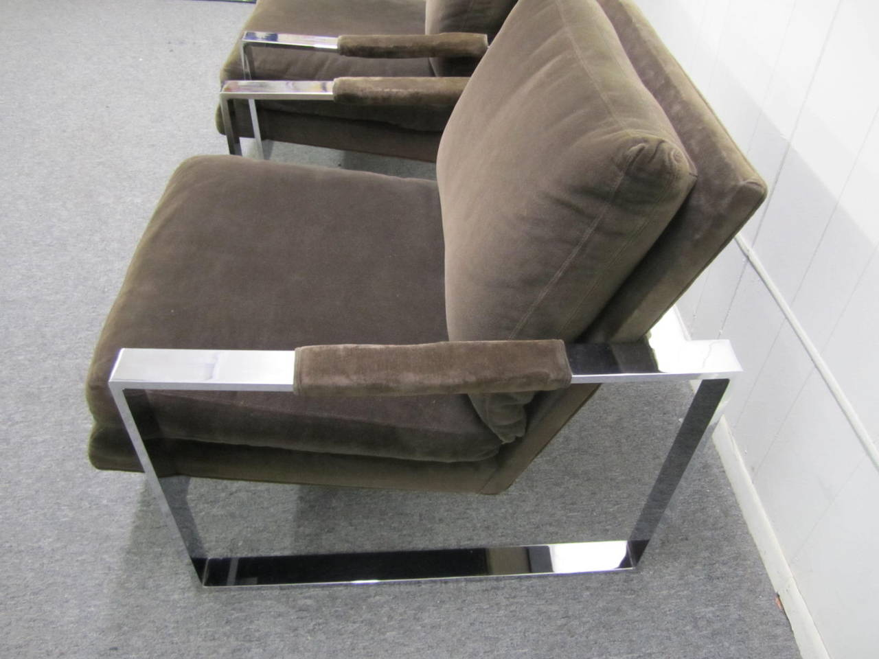 Fabulous Pair of Milo Baughman Chrome Cube Lounge Chairs, Mid-Century Modern In Good Condition For Sale In Medford, NJ