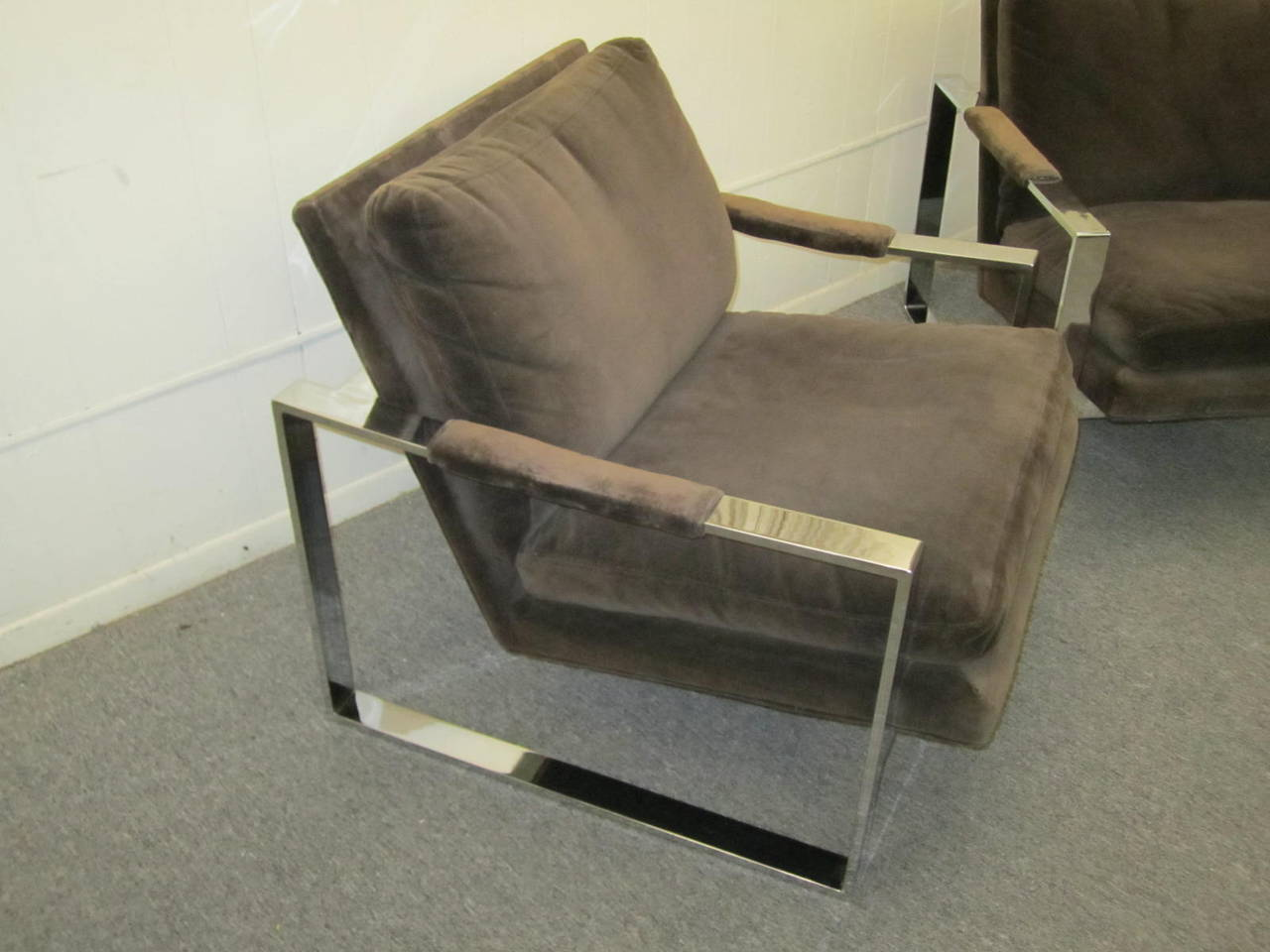 Fabulous Pair of Milo Baughman Chrome Cube Lounge Chairs, Mid-Century Modern For Sale 2