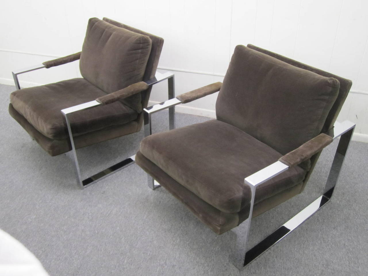 Fabulous Pair of Milo Baughman Chrome Cube Lounge Chairs, Mid-Century Modern For Sale 3