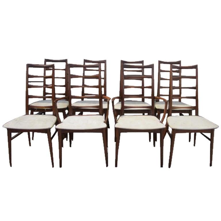 Set of 8 koefoeds hornslet teak dining chairs mid century danish at 1stdibs - Scandinavian teak dining room furniture ...