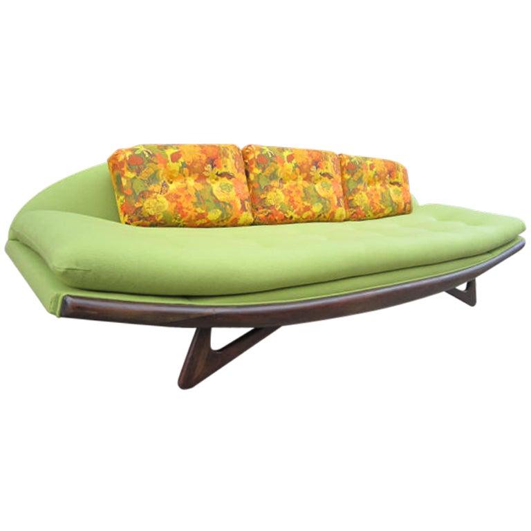 Adrian Pearsall Sculptural Walnut Gondola Sofa, Fully Restored Midcentury