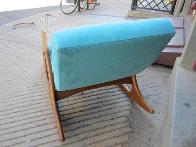 Upholstery Gorgeous Adrian Pearsall Sculptural Walnut Rocker, Mid-Century Modern For Sale