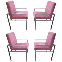Set of Four Harvey Probber Style Aluminum Dining Armchairs, Mid-Century Modern