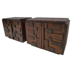 Gorgeous Pair of Paul Evans Inspired Brutalist Mosaic Nightstands from Lane