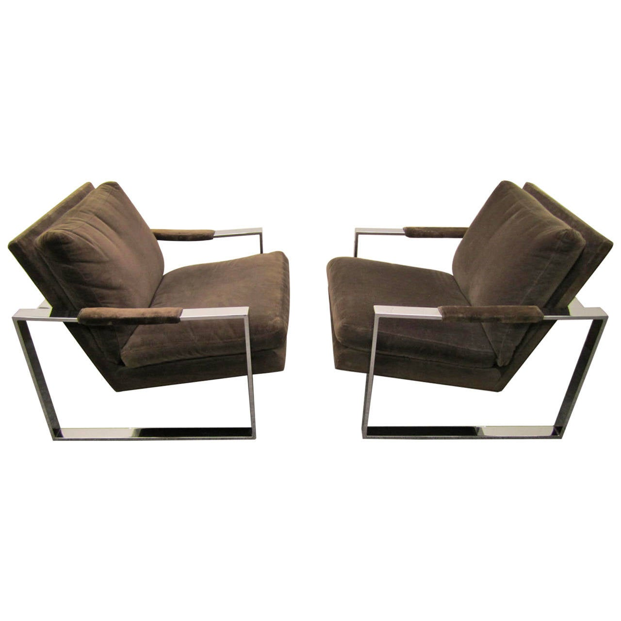 Fabulous Pair of Milo Baughman Chrome Cube Lounge Chairs, Mid-Century Modern For Sale