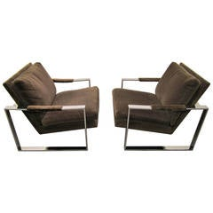 Fabulous Pair of Milo Baughman Chrome Cube Lounge Chairs, Mid-Century Modern