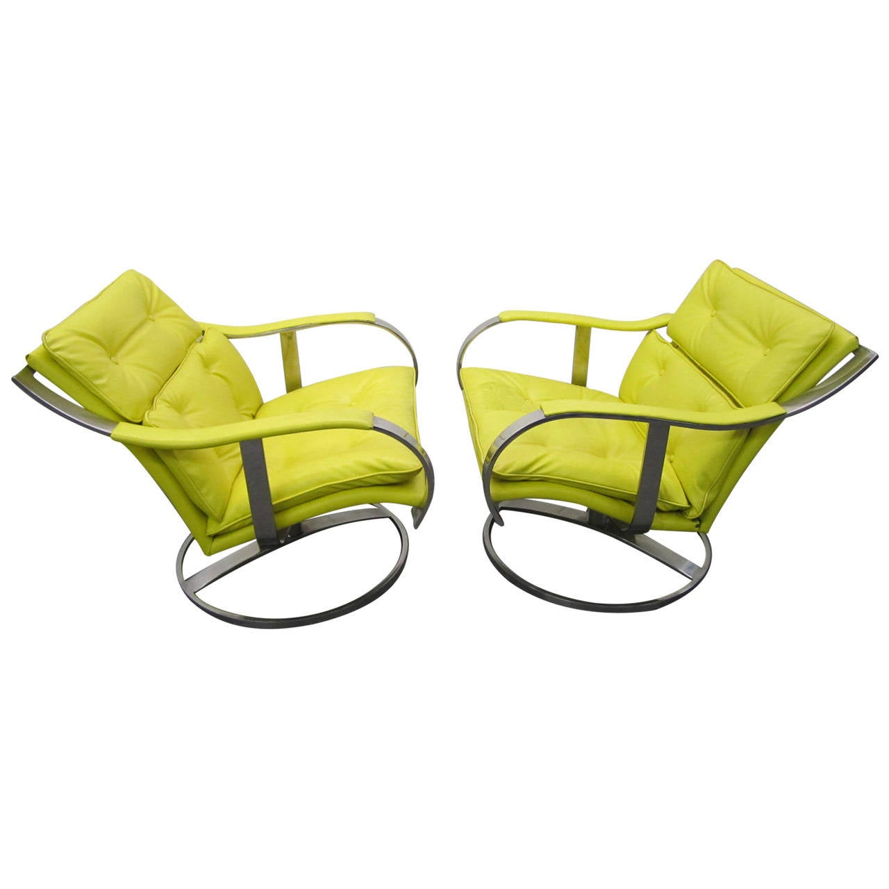 Pair of Gardner Leaver for Steelcase Oversized Chrome Swivel Lounge Chairs Fo