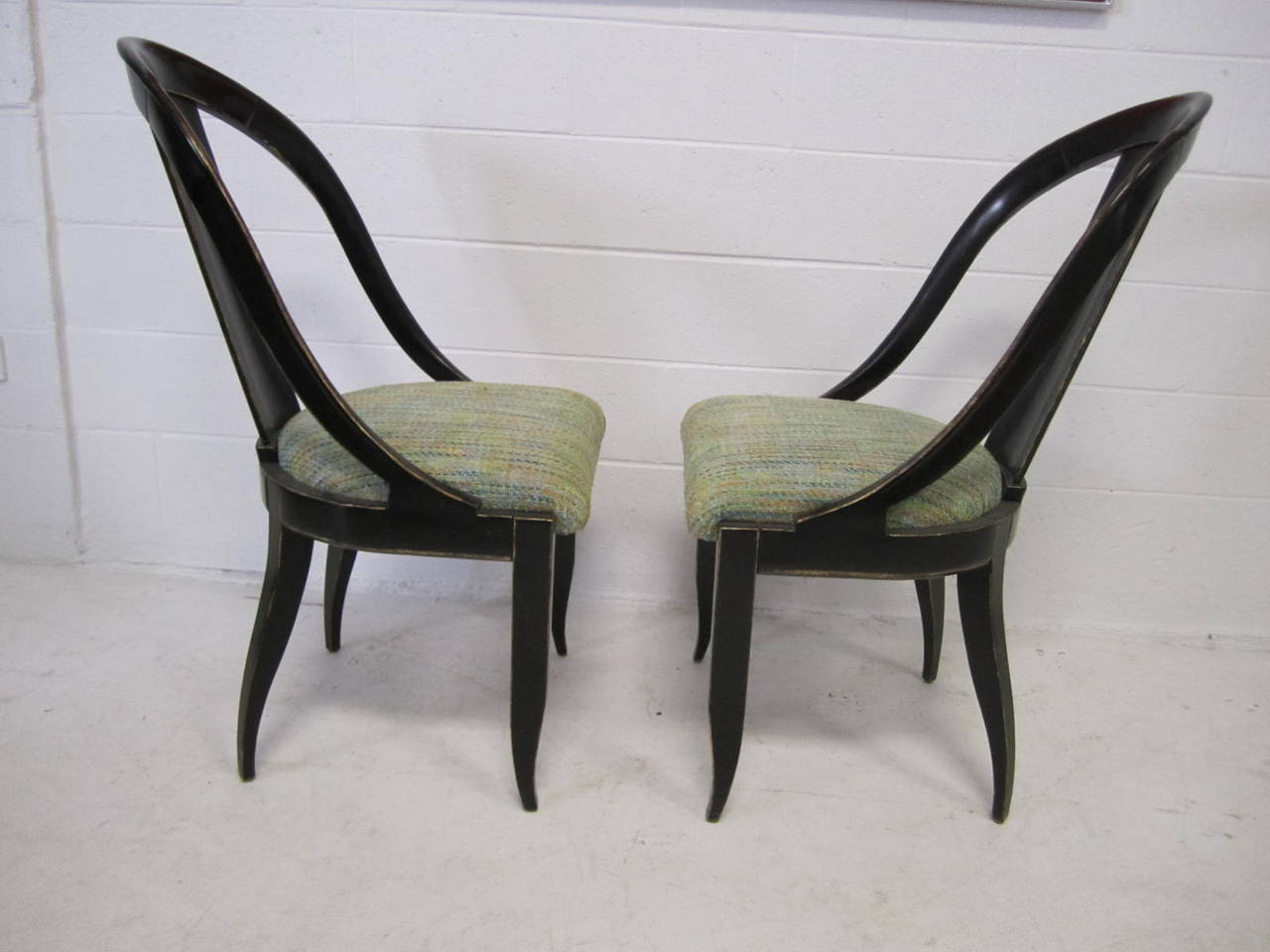 Sensuous Pair of Swaim Spoon Back Lacquered Side Chairs