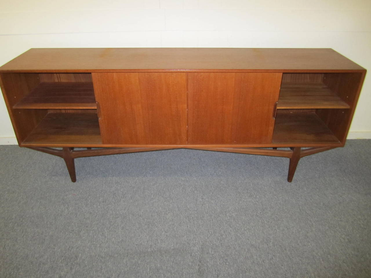 Danish Credenza Hutch : Lovely teak danish credenza with floating hutch room divider