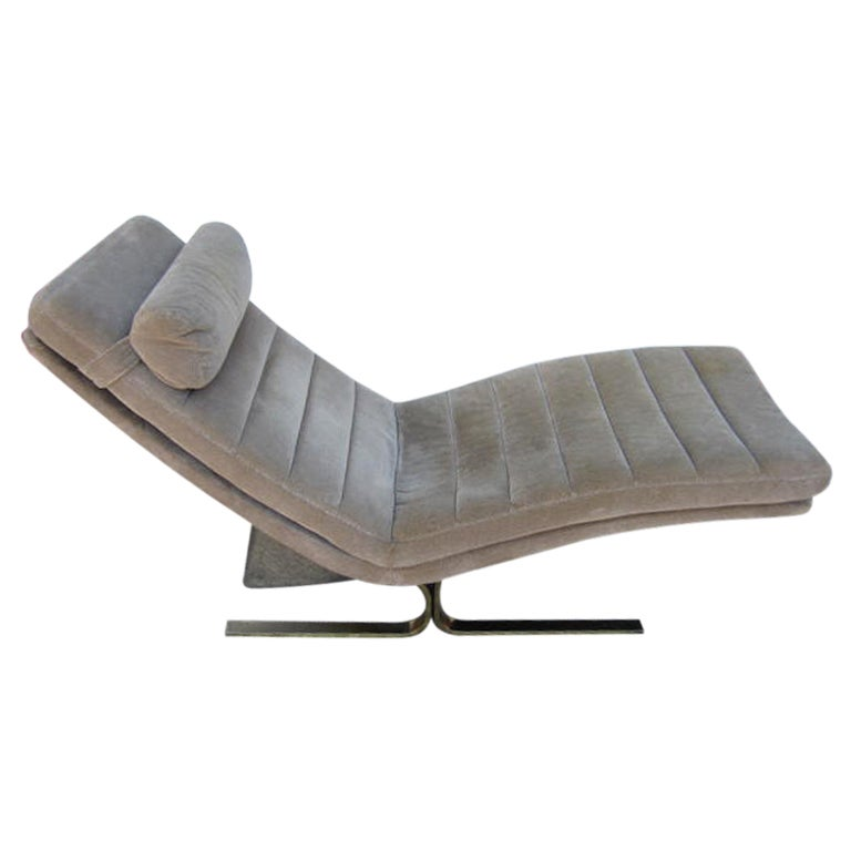 Milo baughman style brass flat bar chaise lounge mid for Chaise lounge bar
