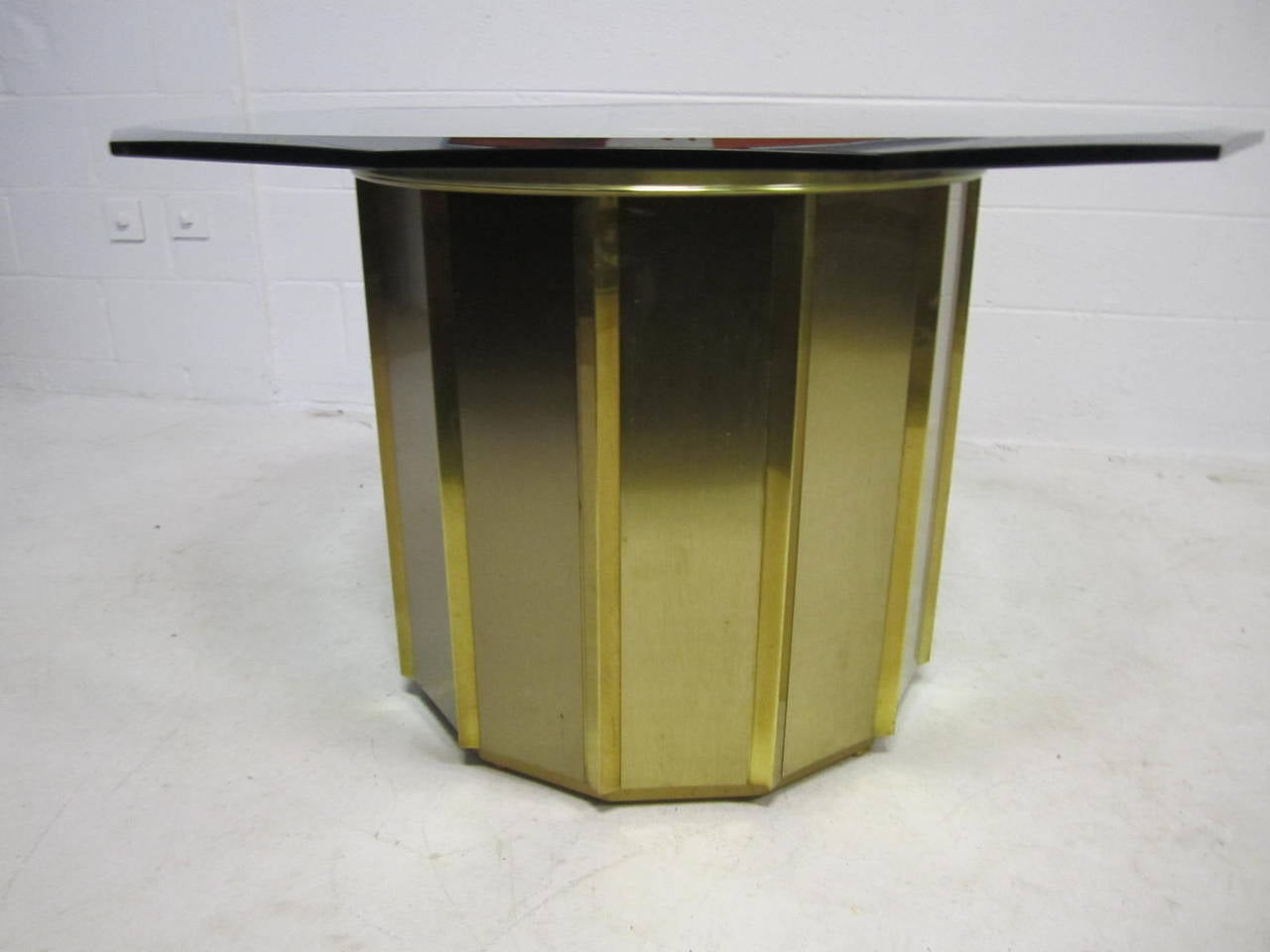 Round Brass Barrel Mastercraft Dining Table Base With Octagon Glass 2