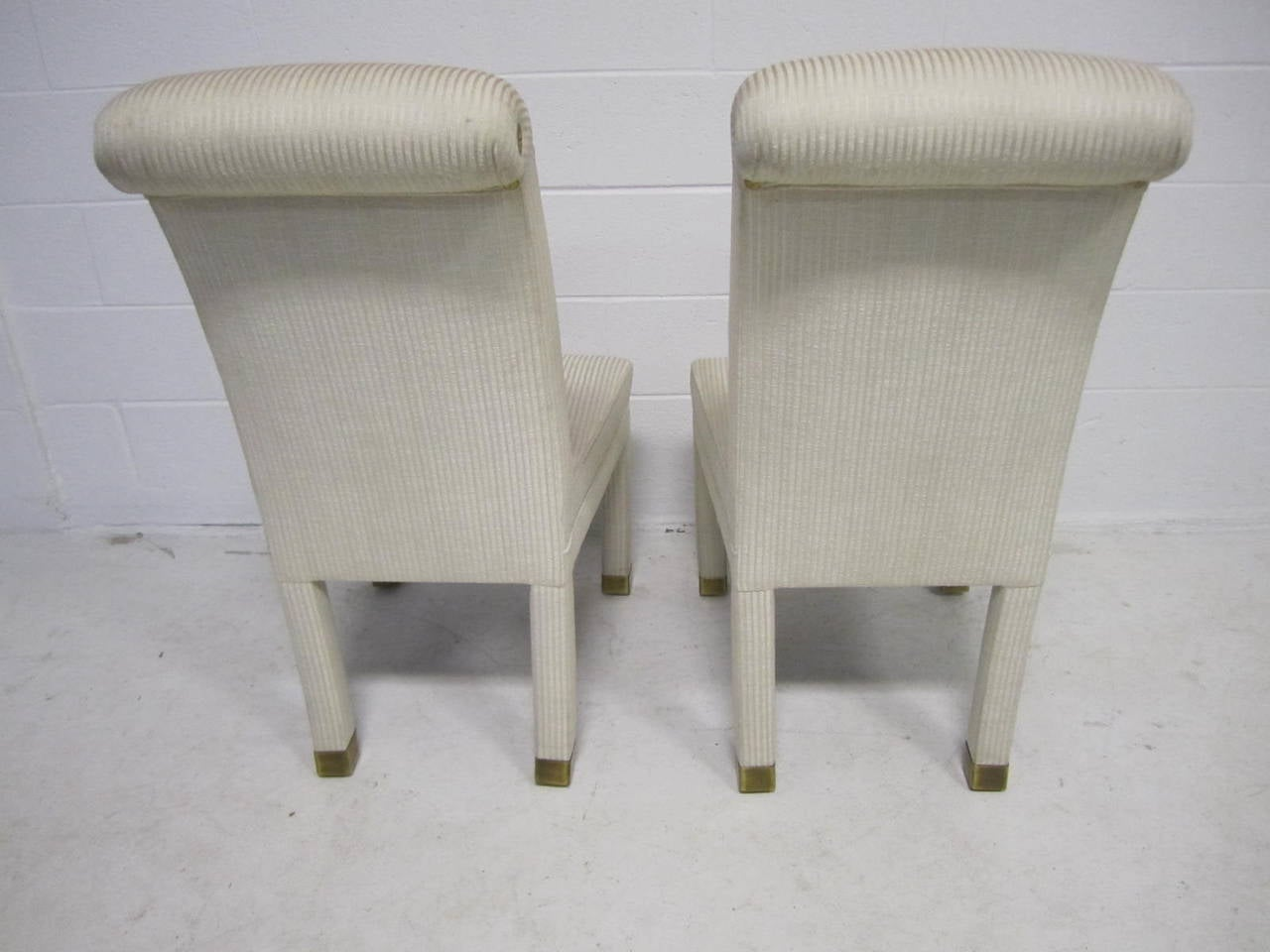 Four Mastercraft Upholstered And Brass Dining Chairs Mid Century Modern At 1
