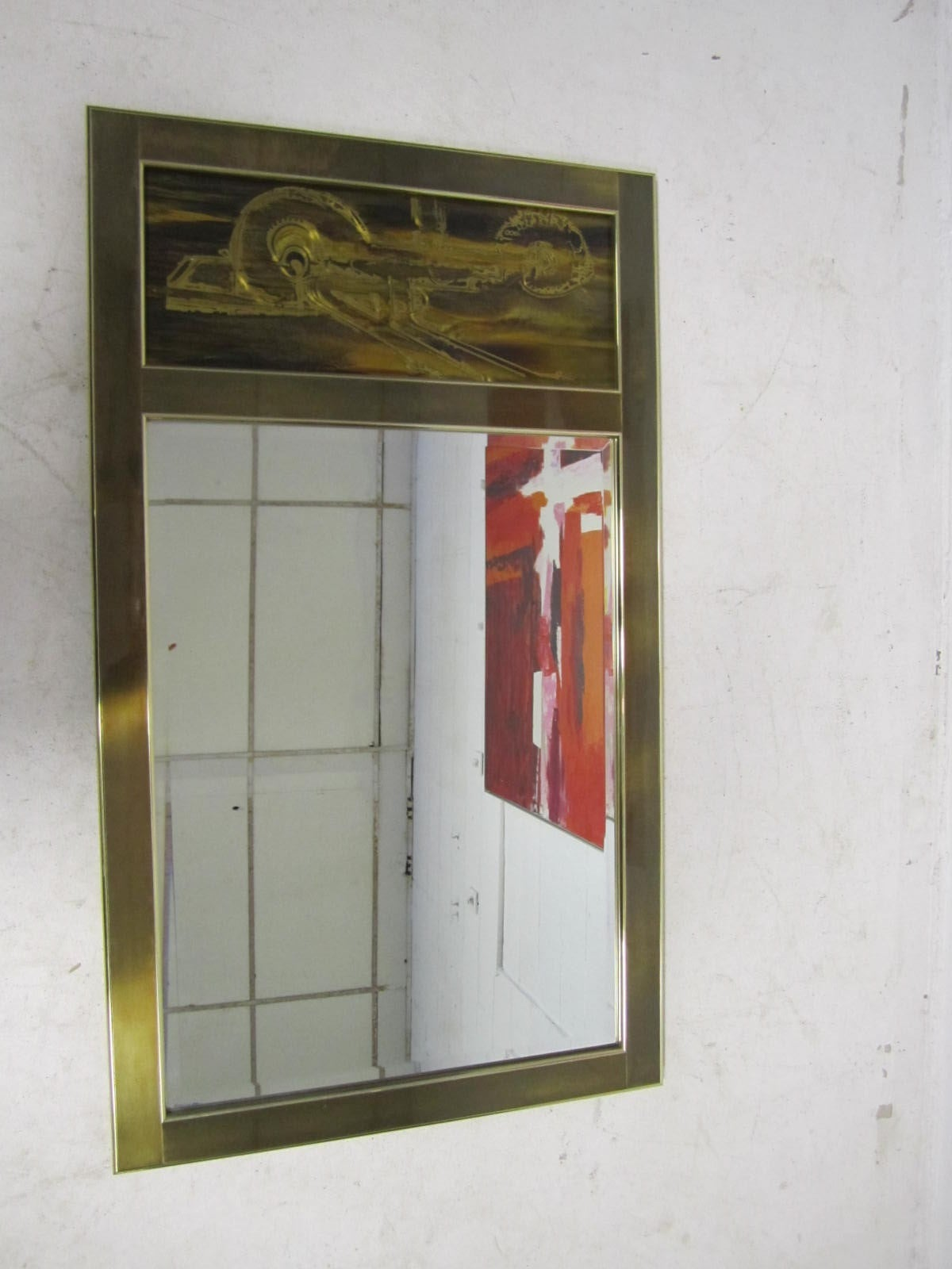 Acid Etched Bernhard Rohne for Mastercraft Mirror Mid-Century Modern For Sale 2