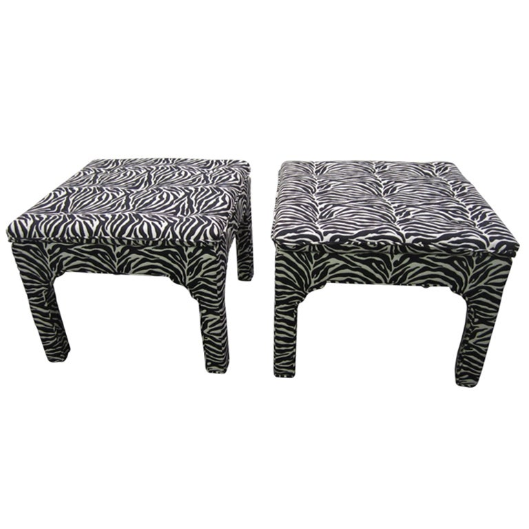 Pair Milo Baughman Style Square Upholstered Bench Stools Mid-century