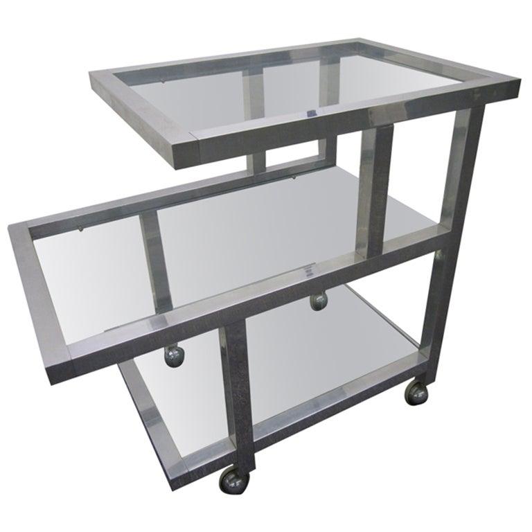 Wonderful Milo Baughman Aluminum Rolling Bar Cart Mid