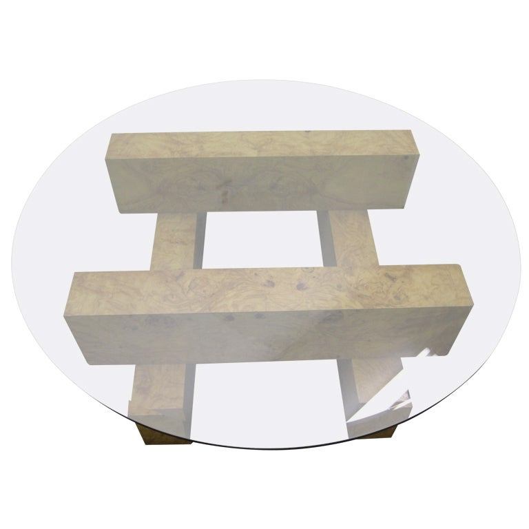 Exotic Glass Coffee Tables: Gorgeous Milo Baughman Tic-Tac-Toe Coffee Table Burled