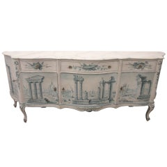 Early 20th Century French Painted Neoclassical Hollywood Regency Credenza