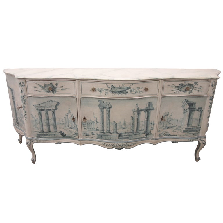 Early 20th Century French Painted Neoclassical Hollywood Regency Credenza For Sale