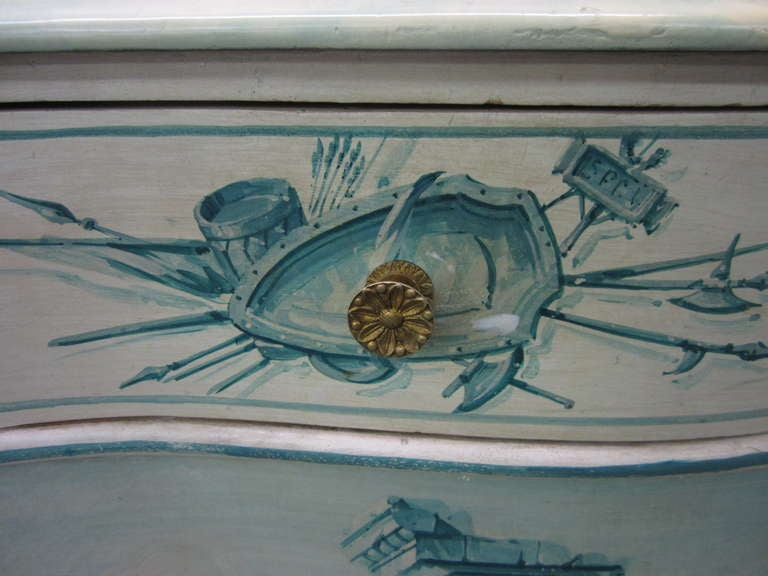 Brass Early 20th Century French Painted Neoclassical Hollywood Regency Credenza For Sale