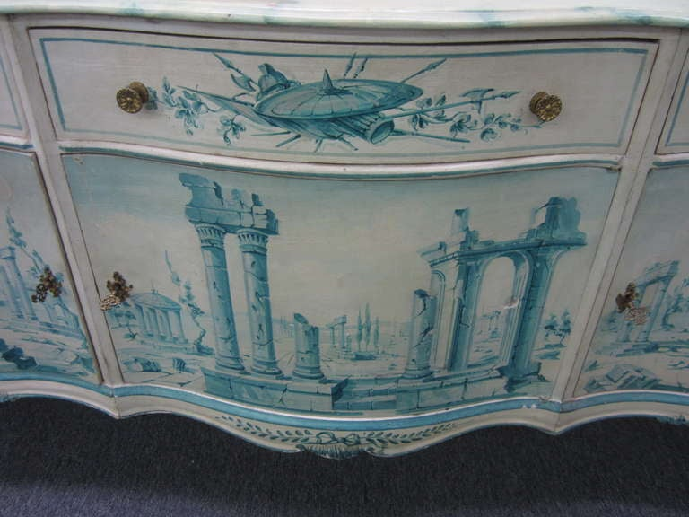 Mid-20th Century Early 20th Century French Painted Neoclassical Hollywood Regency Credenza For Sale