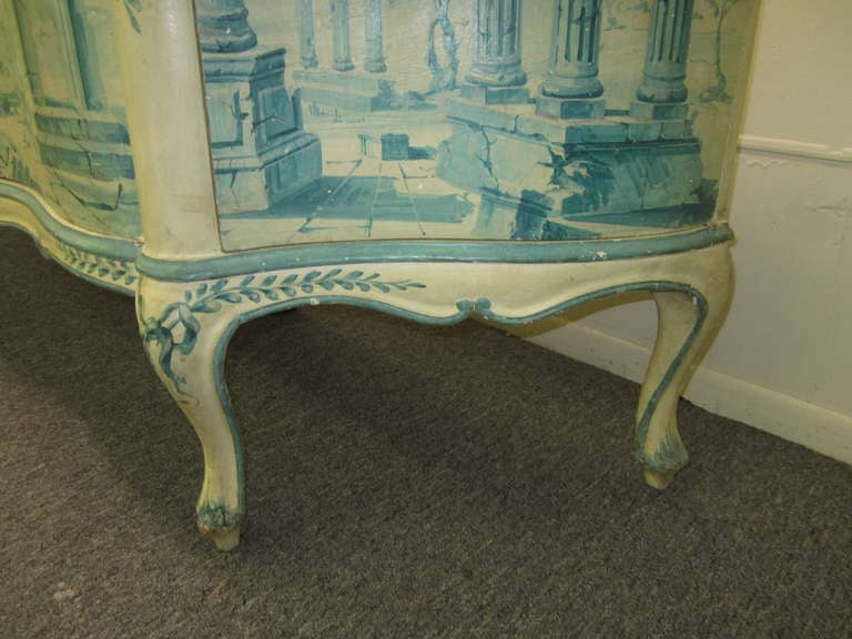 Early 20th Century French Painted Neoclassical Hollywood Regency Credenza For Sale 4