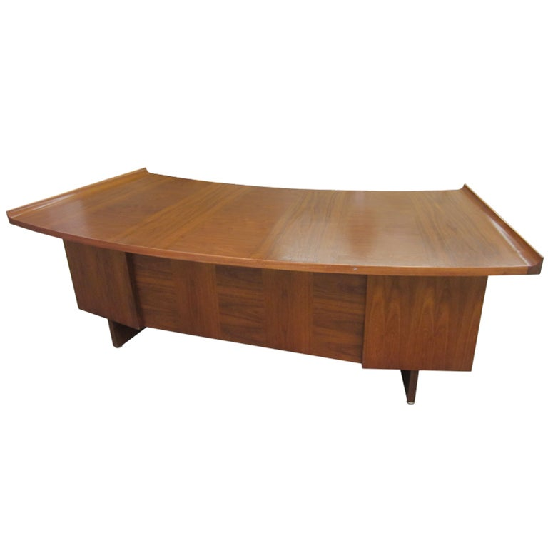 Harvey Probber Curved Top Walnut Desk Mid-century Danish Modern at