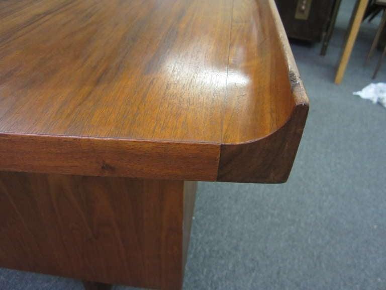American Harvey Probber Curved Top Walnut Desk Mid-century Danish Modern