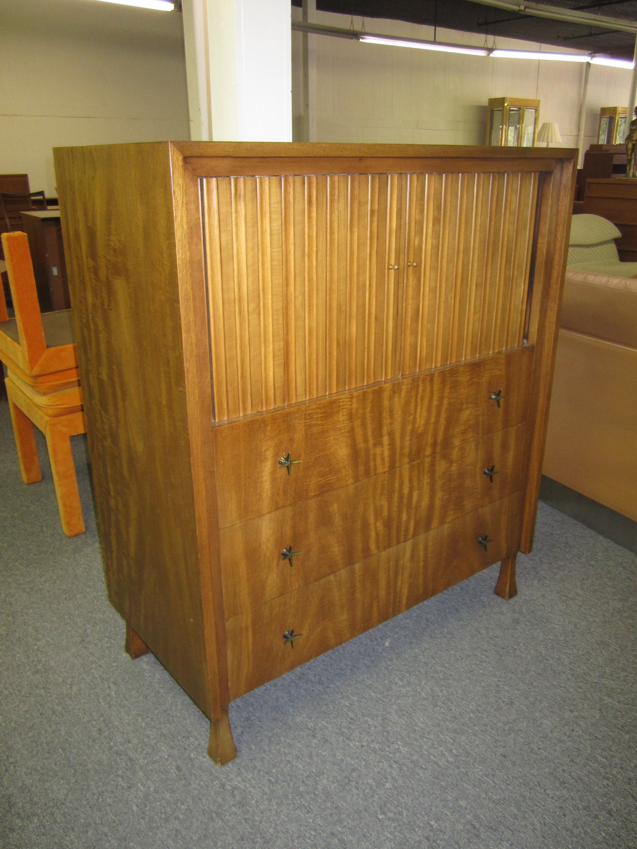 Lovely John Widdicomb Tall Dresser With Tamboured Doors