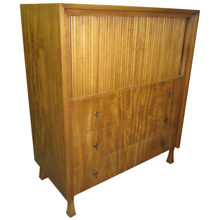 Lovely John Widdicomb Tall Dresser With Tamboured Doors For Sale
