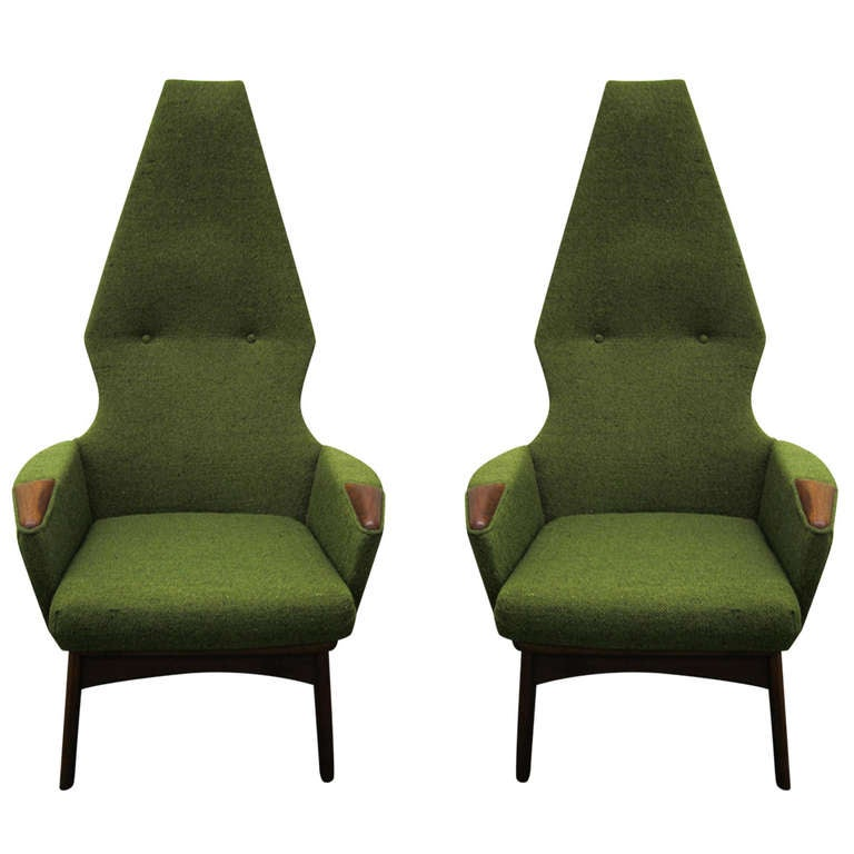 Pair Of Adrian Pearsall High Back Chairs Midcentury Danish Modern For