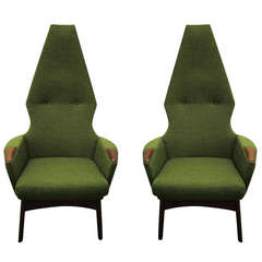 Pair of Adrian Pearsall High Back Chairs Midcentury Danish Modern