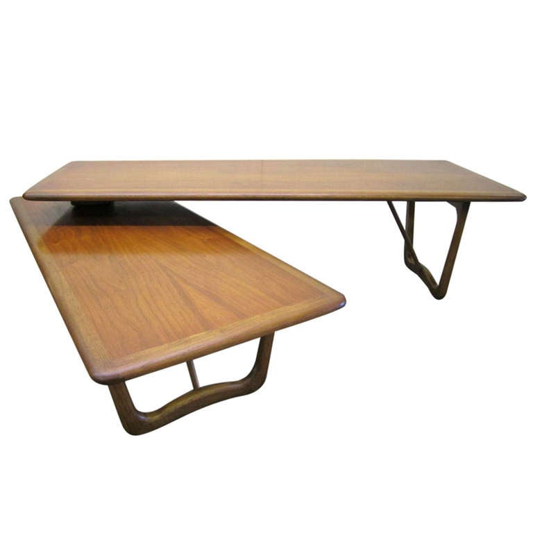 Lovely Mid Century Modern Boomerang Style Walnut Lane Coffee Table 1
