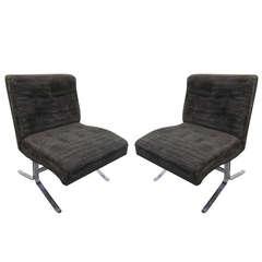 Fabulous Pair of Milo Baughman Style Chrome Slipper Chairs Mid-century Modern