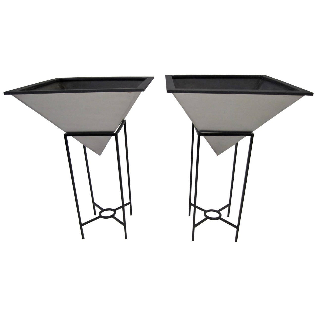 Oversized Inverted Pyramid Planters on Iron Stands Mid-Century Modern