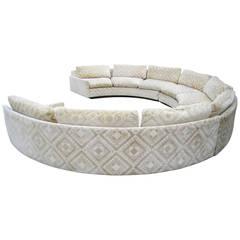 Spectacular Three-Piece Milo Baughman Circular Sofa, Mid-Century Modern