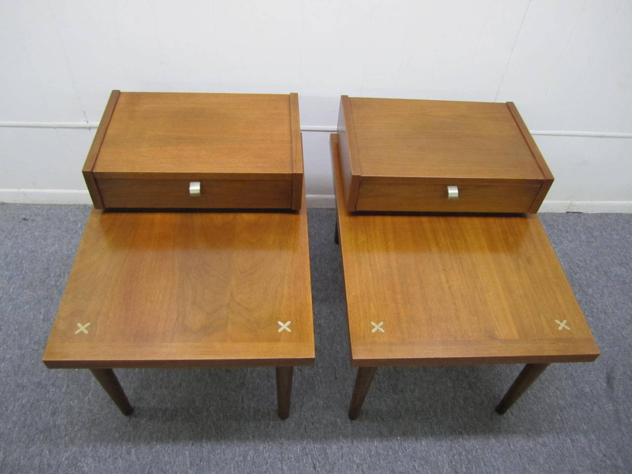 de67c88d53eb Handsome pair of American of Martinsville walnut step end tables.  Manufactured by American of Martinsville