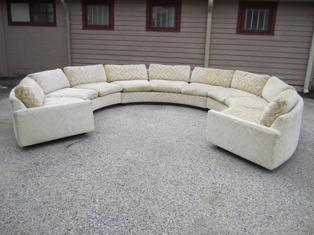 Spectacular three piece milo baughman circular sofa mid for New sofas for sale