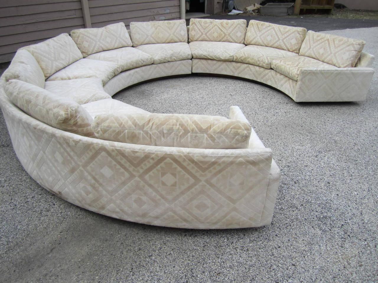 Spectacular three piece milo baughman circular sofa mid for Mid century 3 piece sectional sofa
