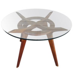 Lovely Adrian Pearsall Round Sculptural  Walnut Dining Table